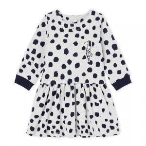 Petit Bateau - Baby Girl Dress LS by Jean Jullien - Marsmallow / Dotties