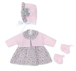 Dukketøj (46 cm.) - blomstret kjole, lyserød cardigan, strømper og kyse