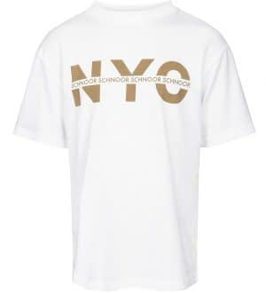 Schnoor T-shirt - Asger - Hvid/Brun m. NYC