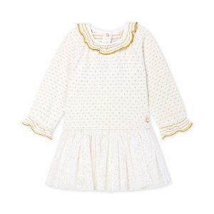 Petit Bateau - Baby Girl Dress LS - White / Gold