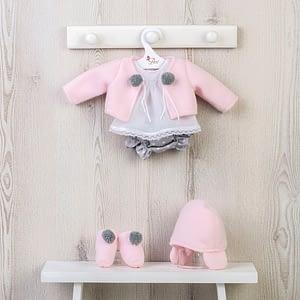 Dukketøj (43 cm.) - shorts, bluse og lyserød fleece cardigan
