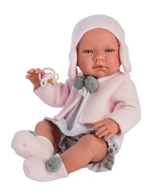 Maria dukke - shorts, bluse og lyserød fleece cardigan (43 cm.)
