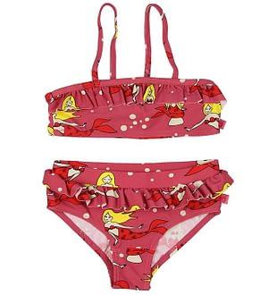Småfolk Bikini - UV50+ - Mørk Rosa m. Flæser/Havfrue