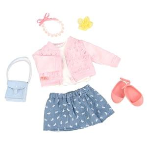 Our generation dukketøj, nederdel og rosa cardigan