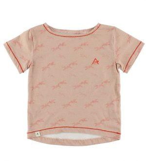 AlbaKid Oversize T-Shirt - Adele - Støvet Rosa m. Fugle