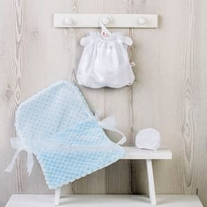 Dukketøj (36 cm.) - buksedragt, kyse og lyseblå sovepose