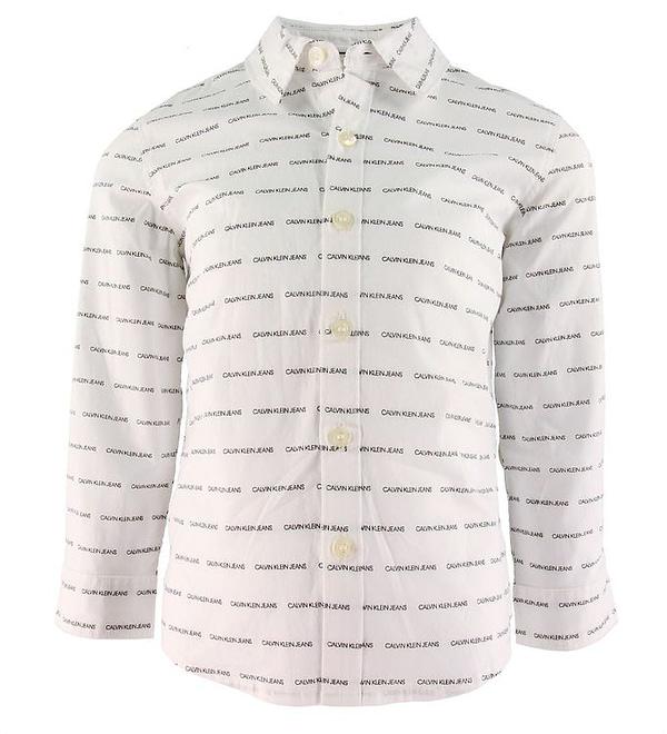 Calvin Klein Skjorte - Bright White m. Logoer