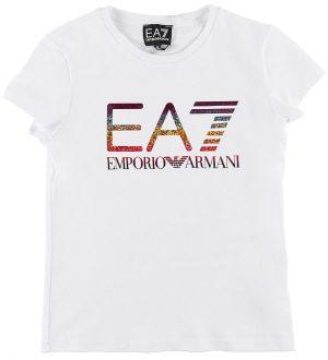 EA7 T-shirt - Hvid m. Glitter Logo