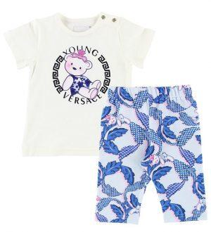 Young Versace T-shirt m. Leggings - Hvid/Blå/Lyserød