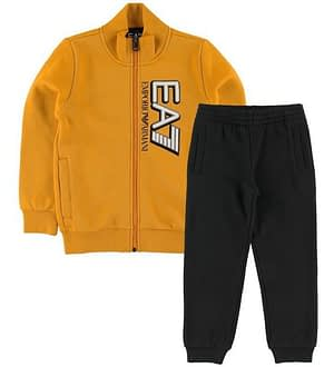 EA7 Sweatsæt - Cardigan/Sweatpants - Gul/Sort m. Logo