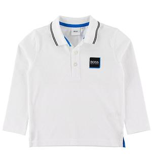 BOSS Polo Bluse - Hvid m. Blå/Logo