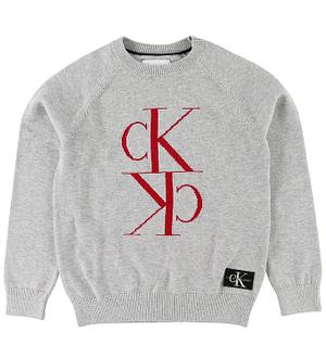 Calvin Klein Bluse - Mirror Monogram - Light Grey Heather