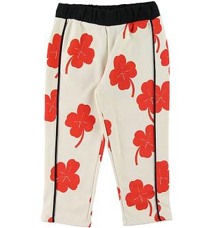 Mini Rodini Sweatpants - Clover - Off-White m. Rød/Kløver