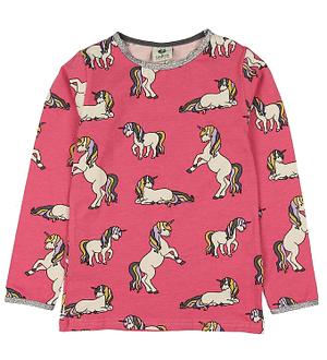 Småfolk Bluse - Pink m. Enhjørning
