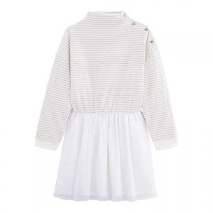 Petit Bateau - Girl Dress LS - White / Gold