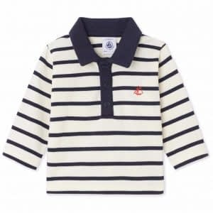 Petit Bateau - Bluse, Baby Polo LS - Coquille Beige / Smoking Blue