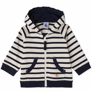 Petit Bateau - Cardigan, Baby Sweatshirt - Coquille beige / Smoking blue