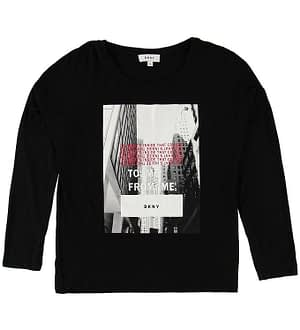 DKNY Bluse - Sort m. Fotoprint