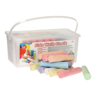 Sidewalk chalk in bucket, 50pcs.