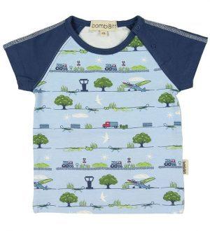 BombiBitt T-shirt - Lyseblå m. Maskiner