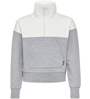 Hummel Teens Sweatshirt - HMLTine Half Zip - Creme/Gråmeleret