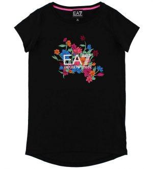 EA7 T-shirt - Sort m. Blomster
