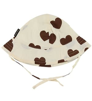 Mini Rodini Sommerhat - Hearts - Creme m. Hjerter