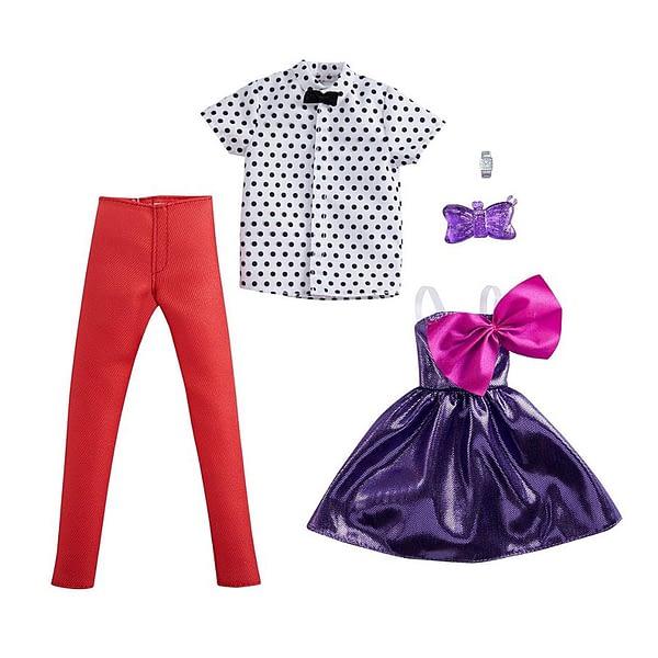 Barbie og Ken dukketøj, lilla kjole og prikket skjorte