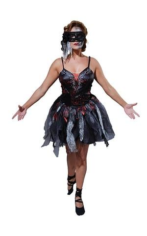 Voksen Død Ballerina Halloween Kjole(Str. 8-10 / S)