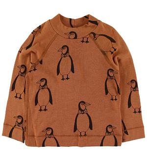 Mini Rodini Bluse - Uld - Brun m. Pingviner
