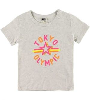 Bonton T-shirt - Gråmeleret m. Neon