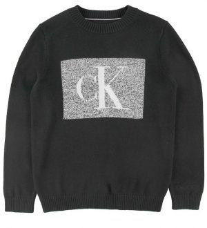 Calvin Klein Bluse - Strik - Sort/Grå