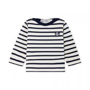 Petit Bateau - Bluse, Baby Sailor Top (Unisex) - Coquille Beige / Smoking Blue