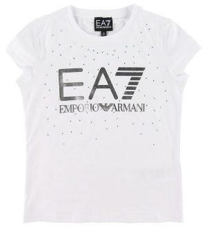 EA7 T-shirt - Hvid m. Sølv/Similisten