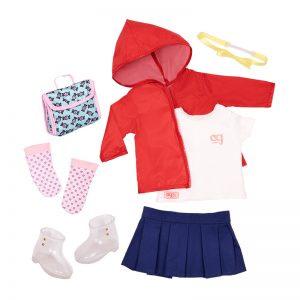 Our Generation dukketøj, regnjakke og nederdel