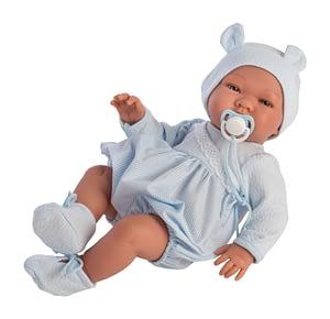 Pablo dukke - lyseblå stribet buksedragt og hue (43 cm.)